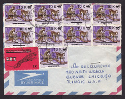 Zaire: Airmail Cover To USA, 10 Stamps, Overprint, Inflation, Monkey, Leopard, Rare Real Use (minor Damage) - Other