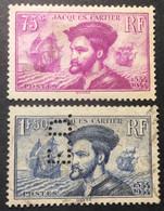 296 297 (Perforé «ED»)Jacques Cartier Oblitéré - Perforadas