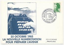 """FRANCE - Cachet Tempo """"Les Télécommunications En Auvergne, Nouvelle Numérotation à 8 Chiffres"""" 63 Clermont Ferrand 1985 - Bolli Commemorativi"""