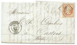 N° 16 ORANGE NAPOLEON SUR LETTRE / TOULOUSE POUR CASTRES / 11 MAI 1855 - 1849-1876: Klassieke Periode