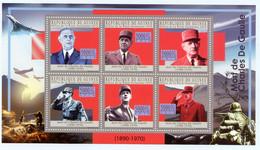 GUINEE FRANCOPHONE 2010, Yv. 5056/61, 40e Anniv. Mort Général De Gaulle, 6 Valeurs En Feuillet, Neufs / Mint - De Gaulle (General)