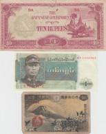 Lot Of 5 Different Asia Banknotes, Burma Japan Occupation, Burma, Indonesia, Japan And Philippines - Kilowaar - Bankbiljetten
