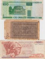 Lot Of 5 Different Europe Banknotes, Belarus, Germany, Greece, Russia And Turkey - Kilowaar - Bankbiljetten
