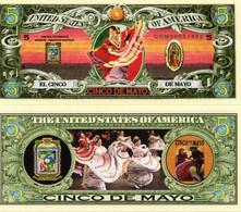 USA 5 Dollar Novelty Banknote Heritage Series 'El Cinco De Mayo' - UNCIRCULATED & CRISP - Other - America