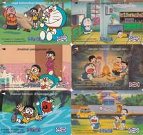 MALAYSIA(GPT) - Set Of 6 Cards, Cartoon, Doraemon/Fujiko F.Fujio, CN : 53USBG-H-I-J-K-L/B, Tirage 80000, Used - Malaysia
