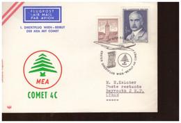 Avion Aviation Lettre 1968 Vol Direct Autriche Liban Vienne Beyrouth  Flugpost Direktflug Wien Beirut Mit Comet - Vliegtuigen