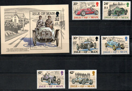 Isle Of Man 637 - 642, Block 23 Mnh ** Tourist Trophy Rennwagen Neu/alt Auto Car Voiture - Man (Ile De)