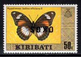 KIRIBATI (1991) Hypolimnas Bolina Elliciana (female). Inverted O.K.G.S. Overprint. Scott No O12. - Kiribati (1979-...)