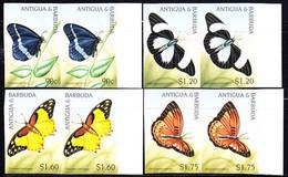 ANTIGUA (1997) Butterflies. Set Of 4 Imperforate Pairs. Scott Nos 2039-42. - Antigua And Barbuda (1981-...)
