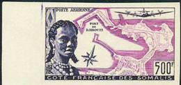 SOMALI COAST (1956) Map Of Djibouti. Somali Woman. Margin Imperforate. Scott No C20, Yvert No PA25. - Nuovi