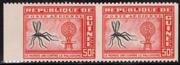 GUINEA (1962) Mosquito. Malaria Eradication Emblem. Pair Imperforate Between. Scott No C30, Yvert No PA17. - Guinea (1958-...)