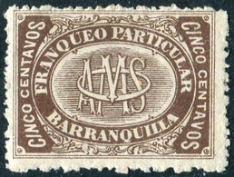 Colombia 1882 BARRANQUILLA 5 Cent. O. Mora Private Carrier Local Post Poste Privée Colombie Kolumbien Privatpost - Colombia