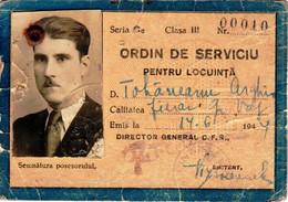 Romania, 1944, Romanian Railways CFR Identity Card - Free Permit, 3rd Class - Andere