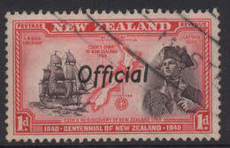 NEW ZEALAND 1940 CENTENNIAL OFFICIALS 1d RED 'CAPT COOK' STAMP VFU - Used Stamps