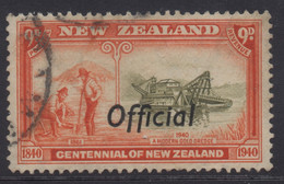 NEW ZEALAND 1940 CENTENNIAL OFFICIALS 9d ORANGE  'GOLD' STAMP VFU - Used Stamps