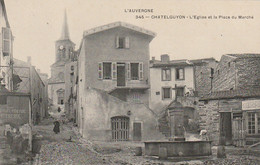 TE 9-(63) CHATELGUYON - L' EGLISE ET LA PLACE DU MARCHE - PUBLICITE CHOCOLAT GUERIN BOUTRON  - 2 SCANS - Châtel-Guyon