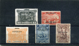 Portugal 1911 Yt 183 185-186 188-189 * - Unused Stamps