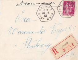 1f75 Paix Seul Sur LR Agence Postale Guemar Haut Rhin 20/5/1933 Pour Strasbourg Arrivée Même Jour - Alsace Lorraine
