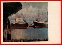 05060 Manizer Trading Port Boat Ship Harbor Crane Fleet In 1974 USSR Soviet Painting Card - Pittura & Quadri