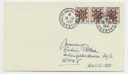 BLASON 2FR BANDE DE 3 LETTRE POSTE AUX ARMEES 18.10.1951 *601* POUR AUTRICHE - 1941-66 Coat Of Arms And Heraldry
