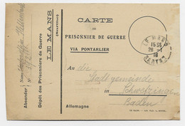 CARTE ENTETE PRISONNIER DE GUERRE DEPOT LE MANS SARTHE 28.1.1916 POUR BADEN - WW I