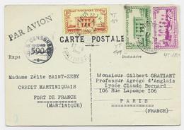 MARTINIQUE 2FR+90C+30C CARTE PAR AVION FORT DE FRANCE  11 SEPT 1944 POUR PARIS CENSURE US CENSORSHIP - WW II
