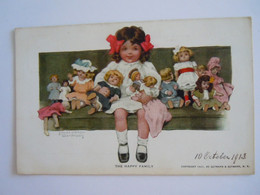 Cpa The Happy Family Meisje Met Poppen Fille Avec Poupées Illustr. Bessie Pease Gutmann Gelopen 1913 - Games & Toys