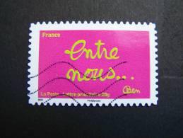 N°612 OBLITERE FRANCE 2011 SERIE DU CARNET TIMBRES LES MOTS DE BEN BENJAMIN VAUTIER: ENTRE NOUS AUTOCOLLANT ADHESIF - Used Stamps