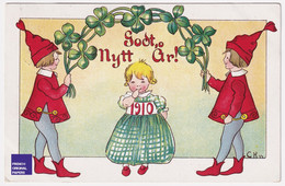 Superbe Carte Postale Litho Bonne Année 1910 Suède Fillette Robe Mode Scandinave Enfant Lutin Trèfle Fille A51-41 - Anno Nuovo