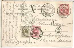 SUIZA 1905 LANGNAU A BELGICA TASADA TAX ANVERS - Covers & Documents