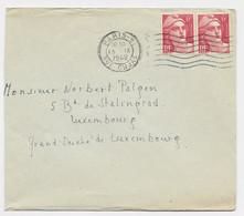 GANDON 6FR PAIRE N°721A LETTRE PARIS 91 15.IX.1948 POUR LUXEMBOURG TARIF SPECIAL - 1945-54 Marianne (Gandon)
