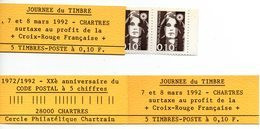 (L198) Marianne De Briat 0,10 (x 5 Exemplaires) Carnet Souvenir Chartres  20 Ans Du Code Postal (1992) - Sin Clasificación