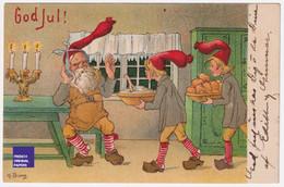 H. Borg Carte Postale Litho Noël 1907 Suède Lutin Mal De Dents Sweden Postcard Dent Dentiste Pomme Christmas A51-45 - Altri