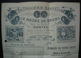 Nantes 1900 Le Masne De Brons Fromagerie Nantaise, Très Belle Facture Illustrée Adressée à Carcassonne, Voir Photos ! - 1877-1920: Semi-Moderne