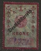 Timbre Autriche 1 Krone Surchage Deutfchofterretch Neuf * - Nuevos