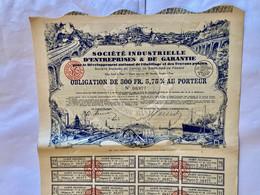 Sté  Industrielle D' Entreprises &  De  Garantie ---------Obligation  De  500 Frs - Industrie