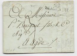 GARD MARQUE  29 BEAUCAIRE 1806 LETTRE POUR AGDE HERAULT TAXE 3 - 1801-1848: Precursors XIX