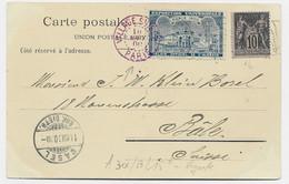 SAGE 10C MEC DRAPEAU RF PARIS EXPO 1900 +VIGNETTE BLEU PALAIS ALGERIE SUR CARTE VILLAGE SUISSE - 1877-1920: Periodo Semi Moderno