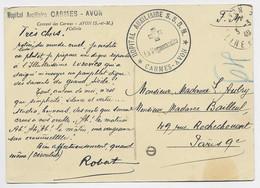 AVON SEINE ET MARNE CARTE EN FM + HOPITAL AUXILIAIRE S.S.B.M. CARMES AVON + CROIX ROUGE - WW II