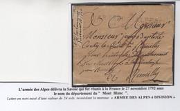 """1 Précurseur """"ARMEE DES ALPES 4 Ième Division"""". Regardez Les Scans Tout Est Indiqué. (lettre Complète Mais Abîmée) - 1701-1800: Precursori XVIII"""