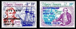 POLYNESIE 1979 - Yv. PA 142 Et 143 **   Cote= 7,00 EUR - James Cook, Iles Hawaii AVEC Surcharge (2 Val.)  ..Réf.POL25521 - Nuovi