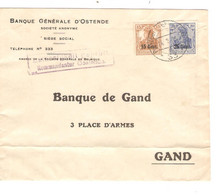81REF/ TP Oc 30-31 S/L.Entête Banque D'Ostende Càp Post... 26/2/1918 Censure Zulassigkeit Geprüft Kommandantur Oostende - [OC26/37] Etappengeb.