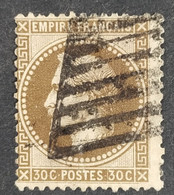 Timbre N° 30 Yvert Signé Brun Ob. Grille De Civita Vecchia - 1863-1870 Napoleon III With Laurels