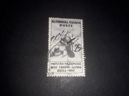 """ITAMIX33 REPUBBLICA ITALIANA 1952 MOSTRA NAZIONALE DELLE TRUPPE BIELLA """"XO"""" - 1946-60: Usados"""