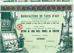 ALGERIE. MANUFACTURE DE TAPIS D'ART. Anct Manufacture De Tapis Algériens. DECO.  TBE - Other