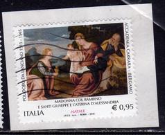 ITALIA REPUBBLICA ITALY 2015 NATALE MADONNA CHRISTMAS NOEL WEIHNACHTEN NAVIDAD € 0,95 USATO USED OBLITERE' - 2011-...: Oblitérés