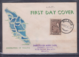 Malacca 1957 Pictorial Postage Stamp FDC - Maleisië (1964-...)