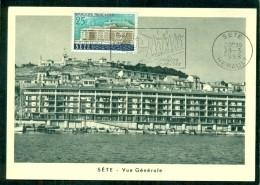 CM-Carte Maximum Card # France-1958 # Tourisme # Architecture # Vue, View Of The Town  Sète # Obl. Flamme , Sète - 1950-59