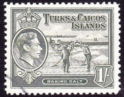 TURKS & CAICOS ISLANDS 1945 KGVI 1/- Grey-Olive SG202a FU - Turks & Caicos