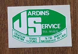 AUTOCOLLANT STICKER - JARDINS SERVICE - CREATION ENTRETIEN TENNIS CLOTURES 76730 BRACHY BACQUEVILLE EN CAUX NORMANDIE - Stickers